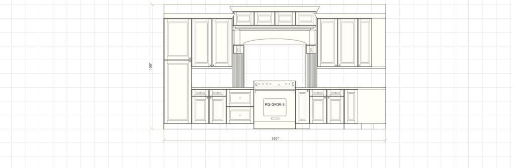 Kitchen Cabinet Design - Range Elevation - Maple Ave - Northbrook IL