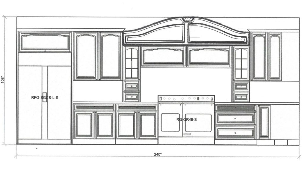 Kitchen Cabinet Design - Shermer Rd - Northbrook IL - Range Elevation